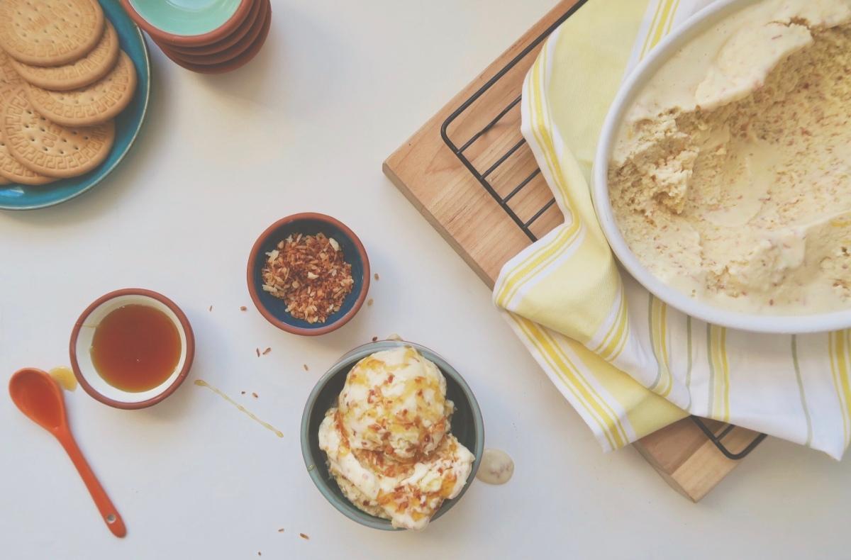 Glace citron-lime et noix de coco grillée (sans produits laitiers)